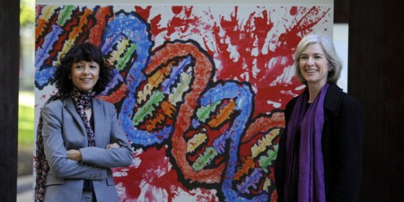 French microbiologist Emmanuelle Charpentier (L) and professor Jennifer Doudna of the U.S. pose for the media during a visit to a painting exhibition by children about the genome, at the San Francisco park in Oviedo